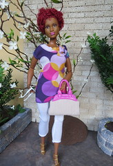 4 Ready for Work (Foxy Belle) Tags: curvy barbie ruby short hair rebodied fashionistas black african american liv purse sunglasses handmade ooak clothing patio plants outside doll poseable articulated move summer outfit fashion