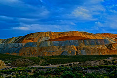 Layers of Copper Mine Waste (oybay©) Tags: robinsonnevadamine ruthnevada nevada robinson mine copper earth science geology historic landscape mineral mineralogy mining open pit tailings layers environment nature unnatural nevadanorthernrailway color colors