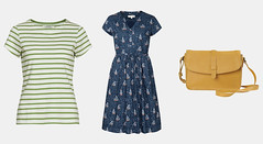 Seasalt Cornwall SS17 \ Breton stripe sailor top in green \ blue print fit and flare dress \ yellow leather satchel (Not Dressed As Lamb) Tags: seasalt cornwall slow fashion ss17 summer clothing garments