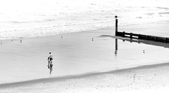 The Beach at Alum Chine (Julian Chilvers) Tags: uk dorset bournemouth alumchine monochrome bw blackandwhite beach sea figures groyne reflection