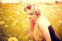 In fields of gold (sophie_merlo) Tags: yellow blonde teen teenager butterfly fields spring summer girl pretty rapeseed floral