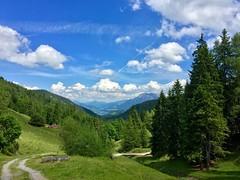 Landscape in Bavaria, Germany (UweBKK (α 77 on )) Tags: landscape scenery green trees woods sky blue clouds white bavaria germany europe bayern deutschland europa hiking hike trail path pfad wanderweg wandern wanderung iphone