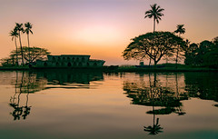 Crack of dawn (ShootsEatsandLives) Tags: sunrise dawn india kerala south asia morning landscapes lake vembanad reflections waterscapes hues colourful orange pink golden boathouse house boat coconut trees tropical sonya6000 nature