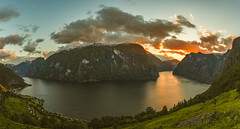 Aurlandsfjord (Mika Tuomela) Tags: norway fjords sognogfjordane southernnorway panorama verticalshotspanorama vestlandet sunlight sunset aurland nikon nikond750 nikkor20mmf18g scenery scandinavia landscape sunrises sunsets sunrisessunsets