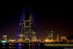 Bahrain World Trade Centre (saadat_med) Tags: bahrain bahrainfinancialharbour worldtradecentre bahrainbay manama architecture design night light