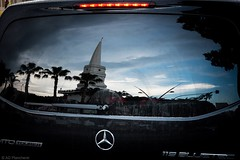Reflections (Anthony P26) Tags: art car category citiestowns flickrpost kemer places transport travel turkey reflections reflectedlight tower clocktower mercedes window sky blueskies travelphotography vehicle black palmtrees clock canon1585mm canon canon70d evening sunset