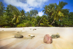 Les seychelles/ Deserted beach (jonathan le borgne) Tags: happy landscape lan landschaft scenery beach sand trees exotic tropical nature rock green seychelles mahé sky blue dream coconut coral summer
