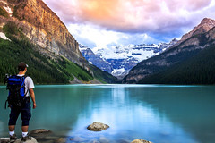 Lake Louise Summer- (Bluesky251) Tags: clouds forest grass hiking hot lake lakelouise mountains nature person rock rocky smooth snow summer sunset tourist travel water weather