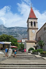 church tower (green_lover (your COMMENTS are welcome!)) Tags: church makarska croatia architecture tower clock stairs mountain town vacation travels