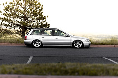 Slouched (alexandermjoyce) Tags: bagged b5 audi a4 s4 mercedes alphards boulder colorado ncar summer green yellow slammed airlift bagriders