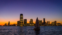 Jersey City Skyline during sunset, New York, August 2016 (smkfsh) Tags: 2016 amérique newyork usa vacances été jersey sunset travel holidays sky skyline manhattan america sun orange purple blue landscape cityscape