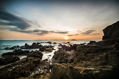 birthday sunset (alexandrechary) Tags: sunset rocks sea seascape dusk longexposure clouds golden green ocean water coast nikon d750 thailand asia