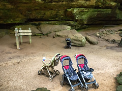 P7080713 Abandoned Strollers at Old Man's Cave (rhbonham) Tags: ohio hockinghills abandoned oldmanscave strollers elements