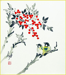 Heavenly bamboo and tit (Japanese Flower and Bird Art) Tags: flower heavenly bamboo nandina domestica berberidaceae bird tit paridae isao akita nihonga shikishi japan japanese art readercollection