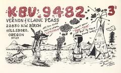 The Viking: Tom-Tom & Little Drum - Hillsboro, Oregon (73sand88s by Cardboard America) Tags: vintage qsl qslcard cbradio cb theviking oregon americanindian