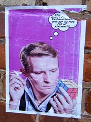 Manchester street art (rossendale2016) Tags: photogenic clever iconic funny humorous poster puzzle sided six 81 by nine squares cubes colourblind miscellaneous colour solver hungarian cube rubies birthday art street manchester