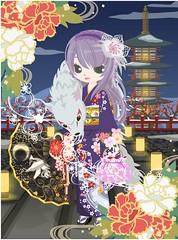 296386_201701011155 (Nicotto Yume) Tags: 紫 和 ゴージャス 花 ロングヘア カチューシャ 正月