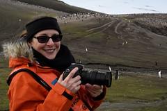 Deb (Scott Ableman) Tags: shetlandislands baileyhead chinstrappenguins chinstrappenguin debbie nikon camera chinstrap penguin nationalgeographicexpeditions lindbladexpeditions nationalgeographicorion antarctica parkas orange orangeparka