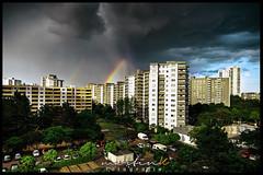 Rainbow (Krueger_Martin) Tags: sky wolken clouds berlin blau blue 24mm weitwinkel wideangle city stadt urban hochhaus hochhäuser skyline architecture architektur gropiusstadt canoneos5dmarkii canoneos5dmark2 canonef24mmf14lii hdr photomatix colorful bunt farbig sommer summer regenbogen rainbow