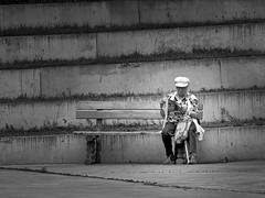 place for time out 1 (heinzkren) Tags: dame bank kaisermühlen wien vienna panasonic bw kagran donaucity blackandwhite schwarzweis monochrome people person beton parkbank urban bench concrete lady pause street streetphotography candid break