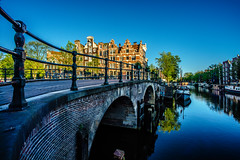 (angheloflores) Tags: amsterdam canal brouwersgracht houses city sunrise colors travel architecture urban ecplore netherlands bridge lights reflections