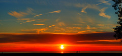 Sunset 2017.06.08.20.50.45 (Jeff®) Tags: jeff® j3ffr3y copyright©byjeffreytaipale water lakeerie beach statepark sun sunset clouds headlands red blue orange yellow tree sand reflection light sillouette couple evening dusk contrast color bright shore ohio park sony sigma a77 shadow people travel recreation swim ngc scenery