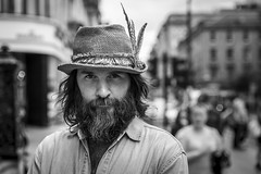 Stranger 51/100 'Michael' (Leanne Boulton) Tags: 100strangers stranger portrait people monochrome urban street pose posed portraiture streetphotography streetportrait streetlife man male face facial expression look emotion feeling eyes intense beard hat stare isolation musician performer singer songwriter tone texture detail depthoffield bokeh naturallight outdoor light shade shadow city scene human life living humanity society culture canon canon5d 5dmarkiii 70mm character ef2470mmf28liiusm black white blackwhite bw mono blackandwhite glasgow scotland uk