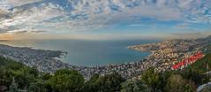 Clouds Over Jounieh From Harissa (Paul Saad) Tags: jounieh lebanon pano panorama panoramic hdr sea mountains nikon clouds sky sunset harissa