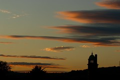 And relax.... (AngharadW) Tags: hill wales cymru caerdydd trees yellow orange pink blue electricpylon sky clouds angharadw chimneypots chimney silhouettes whitchurchtower whitchurch cardiff sunset