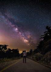 Alone in the dark (Vagelis Pikoulas) Tags: alone loneliness lonely solitude canon 6d tokina 1628mm landscape full frame road night nightscape june summer 2017 selfshot selfie view sky greece europe kithairwnas kithaironas mountain forest trees man space milky milkyway way universe stars star galaxy