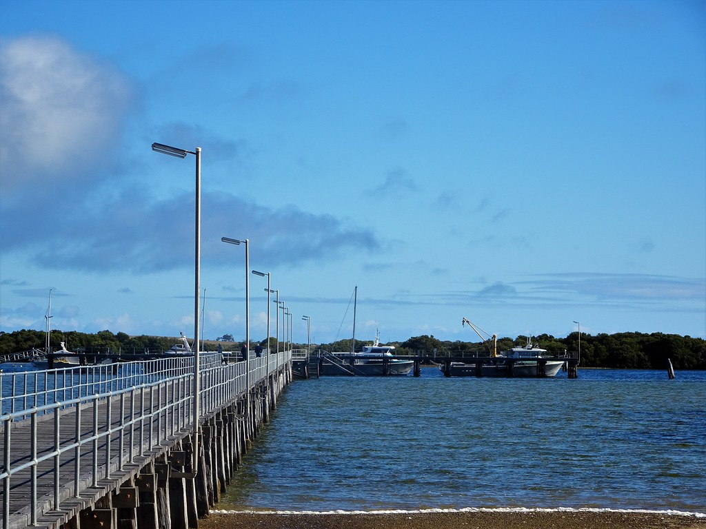 Port Broughton. The jetty and fishing boats. Jetty was terminus of the Mundura horse railway.