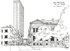 Liège, place Delcour (gerard michel) Tags: liège belgium place architecture sketch croquis