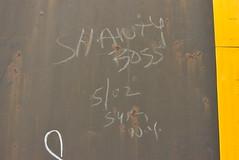 SHANTY BOSS (02) (TheGraffitiHunters) Tags: graffiti graff moniker streak markal freight train tracks benching benched shanty boss 02 2002 gondola