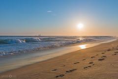 Sunset over Rig at Huntington Beach (Native5280) Tags: beach huntingtonbeach socal california ocean oil rig sun sunset sunsetporn sand footsteps wave waves moody coast cloudsstormssunsetssunrises canon 70d tokinaatx1120mmƒ28prodx sirui k20x w1204 breakthroughphotography lightroom coloradonative