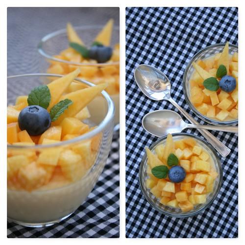 Pudim de Iogurte, Pêssego e Gelatina