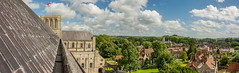 Winchester Cathedral, Hampshire - Panorama from the Roof (JackPeasePhotography) Tags: winchester hampshire roof tower view panorama countryside hill town