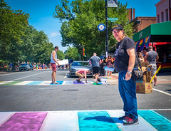 2017.06.10 Painting of #DCRainbowCrosswalks Washington, DC USA 6317