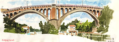 170614 Bridge of Rabastens (Vincent Desplanche) Tags: croquis sketch sketchbook urbansketchers rabastens tarn occitanie pont bridge seawhiteofbrighton seawhitesketchbook carandache neocolor neocolorii