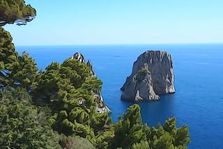 Capri Faraglioni - vie from Belvedere Tragara - Isle of Capri, Italy