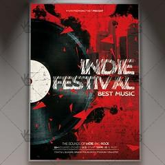 Indie Festival - Premium Flyer PSD Template (psdmarket) Tags: band fest festival gig grunge indie indiefest indieground music psd retro underground vintage vinyl