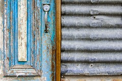 Door & Iron - Magpie Springs Winery (Allshots Imaging) Tags: canon eos 60d eos60d door paint chipped chipping flaky flaking decay crumbling old aged withered corrugated iron contrast lock lockwood handle texture lightroom photoshop lr ps