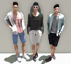 Wild Thoughts (Levi Megadon // *OMG*) Tags: sl secondlife men mens blog blogger lotd look outfit clothes clothing mesh event summerfest summer stealthic hair sleepyeddy hoodie tshirt shirt sarisari shorts tank top semller sneakers anaposes pose clavv bandaid zoom glasses ozzy modulus seul slipons slippers sliders doux deadwool boots dungaree street urban cool casual