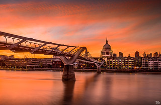 Millennium Bridge and St Paul's Cathedral at Sunset
