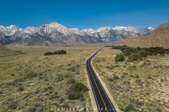 Whitney Portal Road (Mike Ver Sprill - Milky Way Mike) Tags: sierra nevada mountain range mountains mount whitney snow alabama hills california landscape cali nature dji mavic pro drone aerial stacked stack photography sky blue day time mike ver sprill inyo mt pickering johnson peak roads asphalt desert
