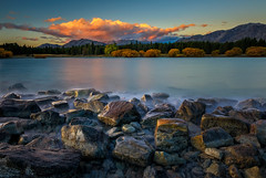 Rocks at Lake Tekapo (Jos Buurmans) Tags: canterbury evening lake laketekapo landscape mackenzie mountain mountains nature newzealand rockformations rocks southisland sunset nz