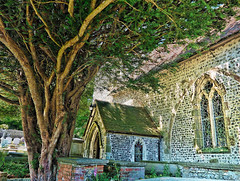 OvingChurch No3 - Copy (iankellybn26dj) Tags: ovingdean church brighton sussex england trees yewtree history architecture spirit spiritual summer