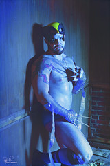 Wolverine Revisited 1 (Philip Bonneau) Tags: wolverine mutant xmen marvel comicbook superhero mask claws knives socks underwear indoors blue bluelighting painterstape sexy male sweaty dirty scruffy man