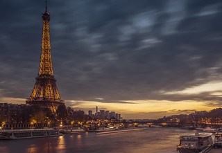 Cloudy sunset in Paris