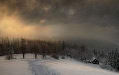 Winter sunset (Eva Zagrapanova) Tags: winter background canon 7d 1755 landscape sunset sunraise snow land tree cold freeze sky red white wood beautiful mistical cottage cabin mist fog