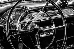 They Don't Make'em Like This Anymore... (Chris Parmeter Photography) Tags: chevy car vintage classic dash steering wheel blackwhitehdr black white bw monochrome fuji xt20 18135mm acros